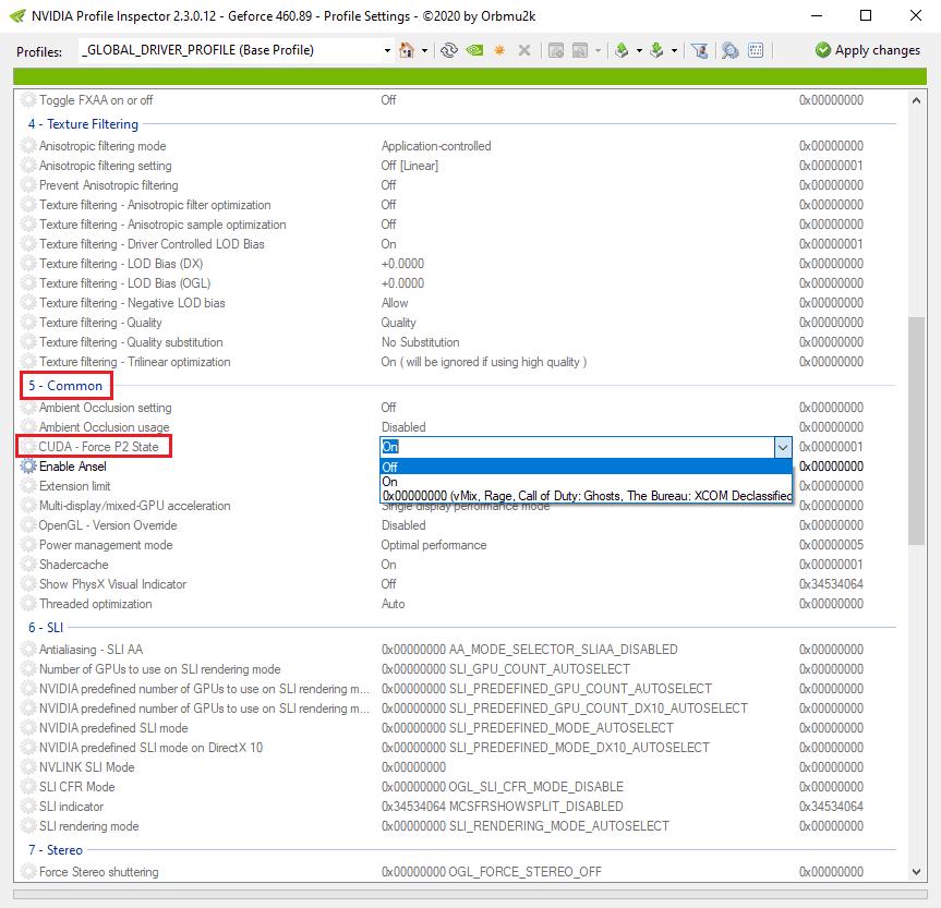 NVIDIA CUDA - Force P2 State feature & Nvidia Profile Inspector