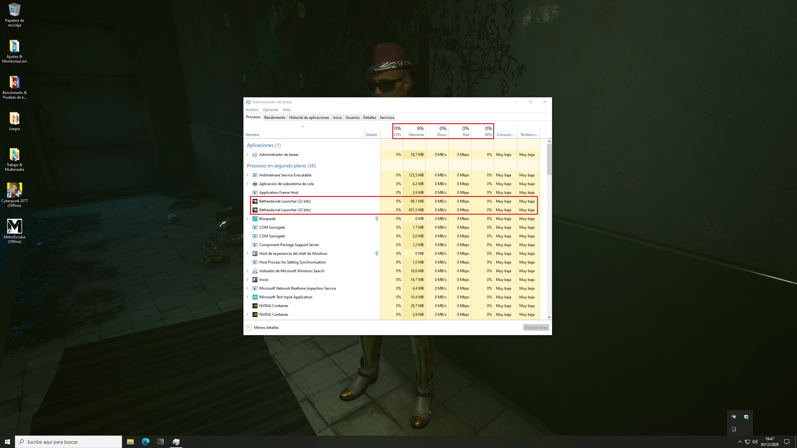 PC Game Launchers Efficiency – Bethesda.net Launcher on idle state – Windows 10 Task Manager Processes Tab