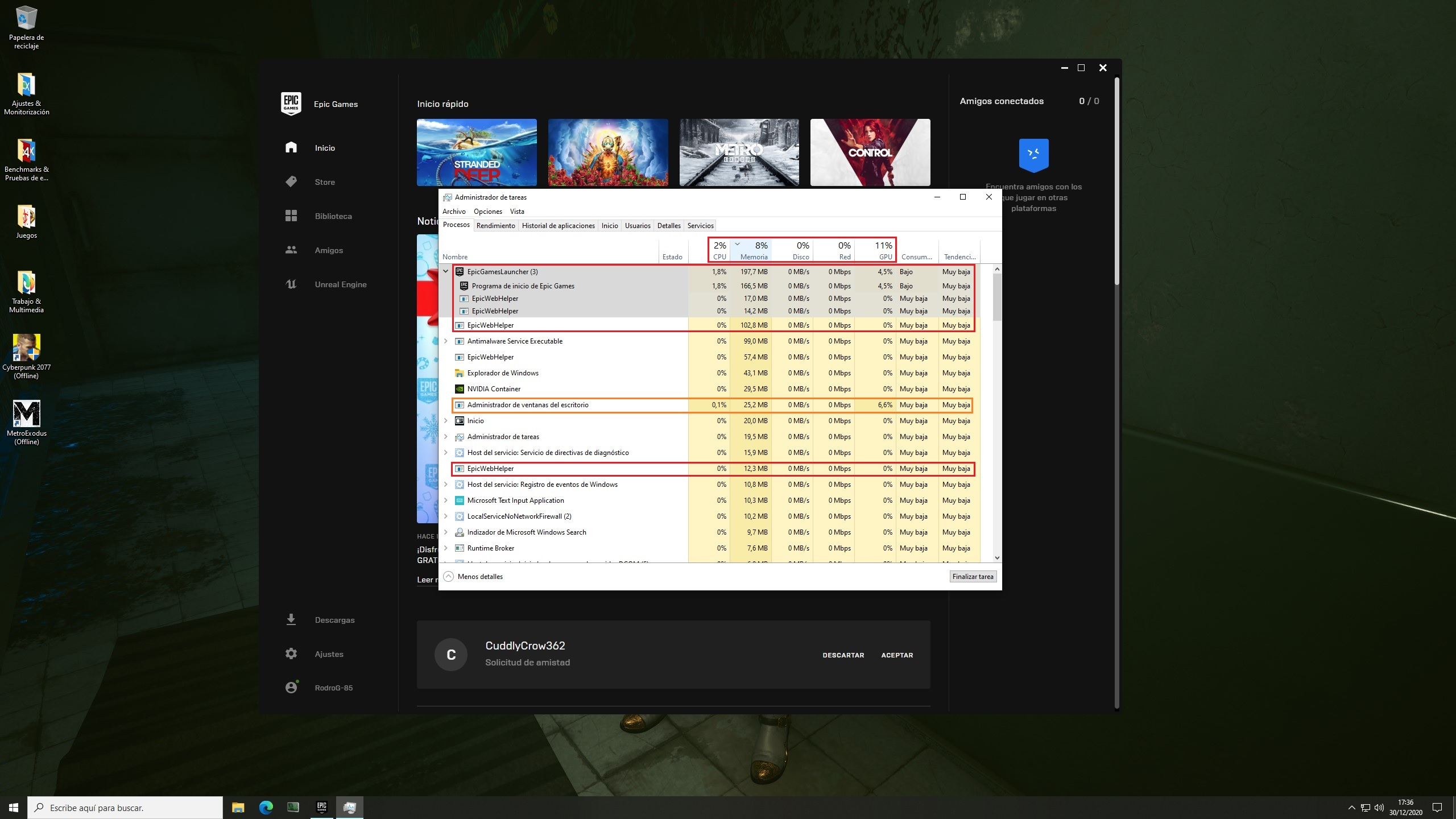 PC Game Launchers Efficiency – Epic Games Launcher on static load state – Windows 10 Task Manager Processes Tab